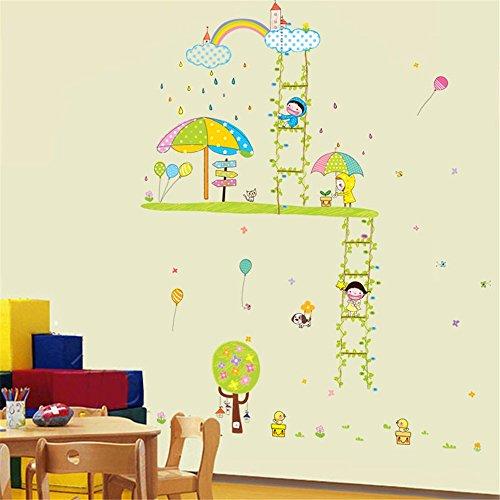 Muurstickers Home Leuke Kinderen Muurstickers Slaapkamer Warme Muurstickers Badkamer Decoratie Glazen Stickers Groene Rotan Ladder Hoogte Stickers, 60 * 90CM