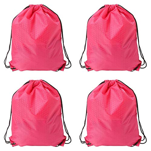 4 Pcs Drawstring Backpack Bags Polyester Cinch Sacks String Portable Nylon Backpack Multicolor for School,Travel,Gym,Yoga,Outdoor Sports & Storage (Magenta)