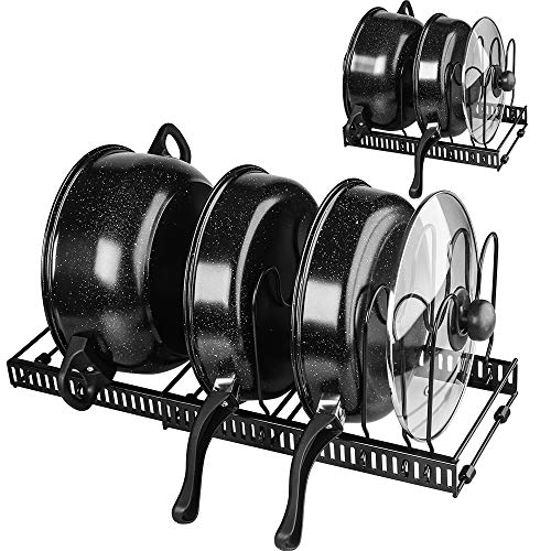 Pot and Pan Organizer for Cabinet Lid Holder Expandable Tomorotec Attom Tech Home Cabinet Pot Lid Storage Rack Organizer for Frying Pan Kitchen