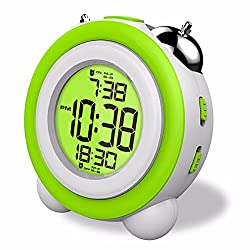 Digital Loud Twin Bell Alarm Clock with Large Digits Display,Two Alarms with Snooze/Time/Date/Light Table Clock for Kids(Green)