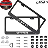 2 Pack Car License Plate Frame for Toyota, Stainless Steel Auto Plate Frames Frames to Protect Plates,with Screw Caps Cover Set Suit,Applicable to US Standard car License Frame