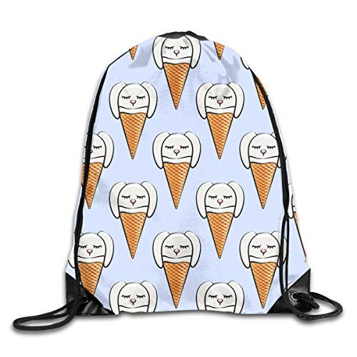 show best Bunny Ice Cream Cones Drawstring Gym Bag for Women and Men Polyester Gym Sack String Backpack for Sport Workout, School, Travel, Books 14.17 X 16.9 inch