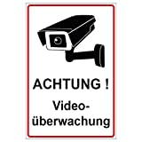 Panneau Attention Surveillance vidéo en aluminium/Dibond 140x 200mm?3mm d'épaisseur