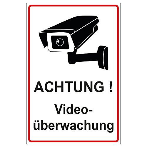 Schild Achtung Videoüberwachung aus Alu/Dibond 140x200 mm - 3 mm stark