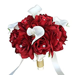 Angel Isabella 9″ Wedding Bouquet – Apple Red Rose with Natural White Calla Lily,Ivory Ribbon and Bling