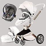 Kombikinderwagen 3 in 1 Kinderwagen mit Buggy und Babywanne 2021 Hot Mom neues Design, Weiß 3-1