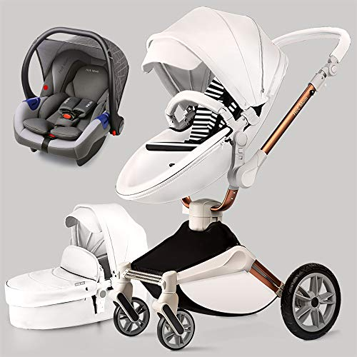 Hot Mom 360 ° Passeggino multifunzione passeggino in pelle PU per 0-4 anni Bambini 2020,bianca3-1