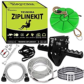98 Feet Zip Line Kit for Kids and Adult Up to 330 lb with Zipline Spring Brake and Safety Harness Zip line Trolley with Handle and Thickened Seat,for Backyard Playground Entertainment