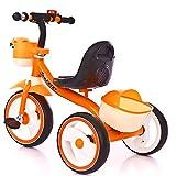 Triciclo Bicicletta Bambini, Balance del Bebés con Bolsa de Transporte Triciclo Ligero y Plegable Juguetes para Montar para Niños y Ninas De 2 a 4 años, Orange
