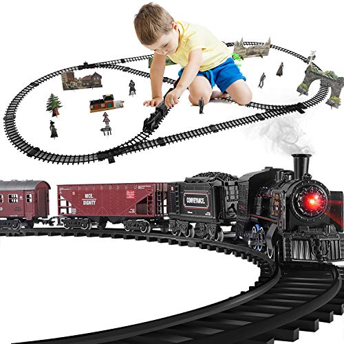 Baby Home Electric Metal Alloy Model Train Set,with Realistic Train Sound,Lights and Smoke (3 Carriages)