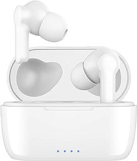 Auriculares Inalámbricos Bluetooth 5 AptX Graves Mejorados, 4-Micrófonos Auriculares Bluetooth con CVC 8.0 Cancelación de ...