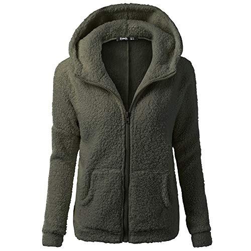 Susenstone Sweat-Shirt Zippé A Capuche Femme Polaire,Sweats Chaud Coton Causal Unicolore Manche Longues Amples Pullover Mode Tops Manteau (S, Armée Verte)