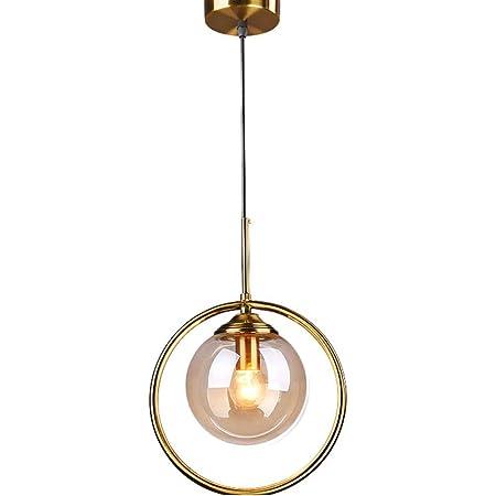 HJXDtech Suspension Lampe Industrielle Vintage, Plafonnier Lustre en Laiton avec Abat-jour en Verre Ambre,Luminaire Suspension loft Moderne pour Cuisine Chambre Salon