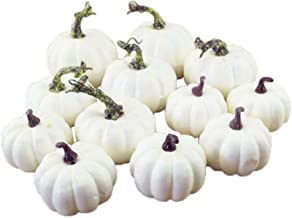 12 Pack Artificial Lifelike Simulation White Pumpkins for Kitchen Decorations Halloween Thanksgiving Day House Fall Harves...
