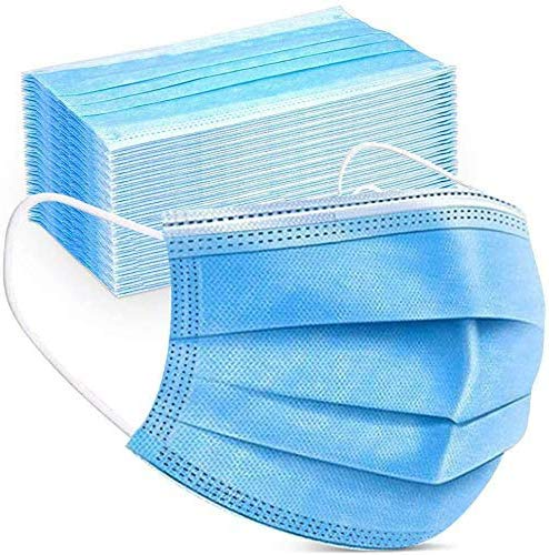 Disposable Face Cover 3-Ply Filter Non Medical Breathable Earloop Masks (Blue) (USA Seller in stock)(100 Pcs)