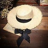 Sombrero De Playa para Hecho A Mano Moda Mujer Sombreros De Verano Sombrero para El Sol Gran Lado Ancho Rafia Sombrero De Paja Cinta Gorras De Playa Moda para Mujer Floppy Pan