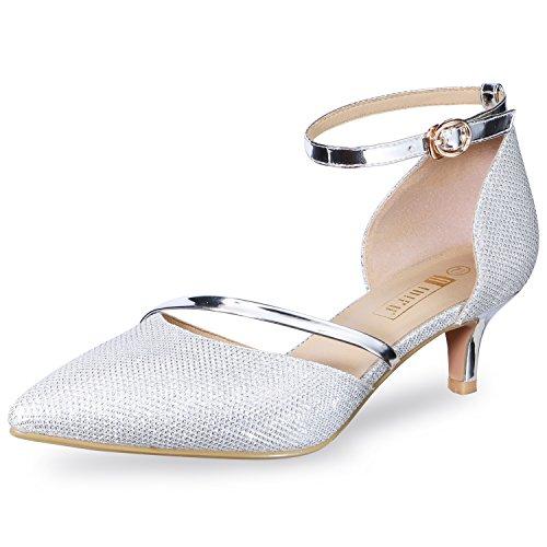 IDIFU Women's IN2 Maxine Wedding Low Kitten Heels Closed Toe Party Dress Pumps Shoes for Bridal Bride Women (9.5 B(M) US, Silver)