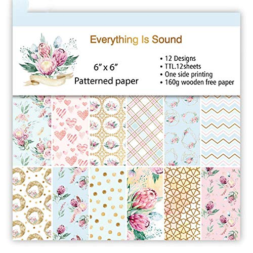 2019 Nieuwe 12 vellen Art Flower Pattern Achtergrondpapier Ambachten voor het maken van kaarten DIY Scrapbooking Paper Decorations, 03