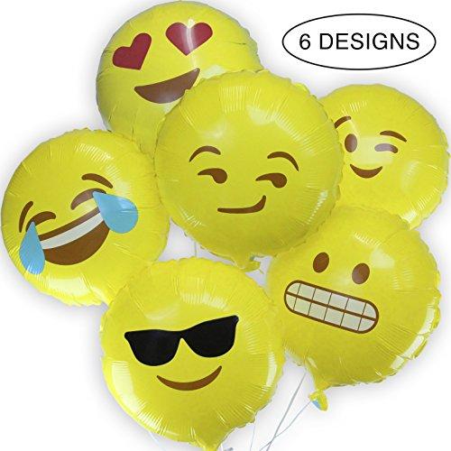 Emoji Balloons - Reusable 6 Pack Reusable Helium Mylar 18' Emoji Party Balloons
