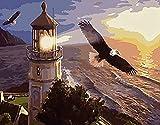FSKJSZYH Rahmenlose DIY Leuchtturm Turm Adler Malen Nach Zahlen Landschaft Tiere Wohnzimmer...