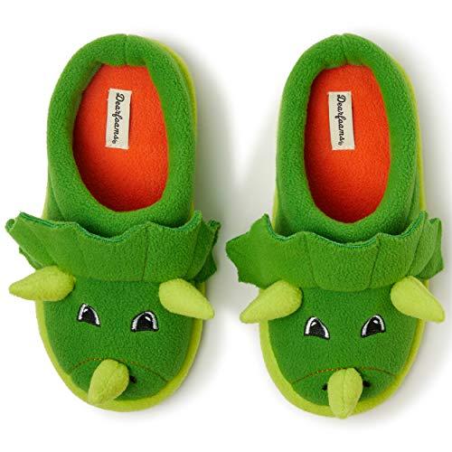 Dearfoams unisex child Clog Slipper, Green Dinosaur, 4-5 Big Kid US