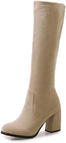 Sandalette-DEDE Stiefel de Moda para damen en otoño e Invierno, Stiefel de tacón Alto, Stiefel Altas, Stiefel ásperas y Altas, Stiefel de Gamuza, Beige, Cuarenta y Cinco
