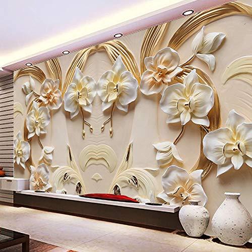 VVNASD 3D Wand Dekorationen Wandbilder Tapete Aufkleber Phalaenopsis Hintergrund Sandstein Entlastungs Wohnzimmer Sofa Bedroom Kunst Mädchen Zimmer (W) 400X(H) 280Cm