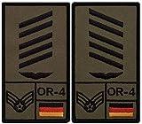 Café Viereck ® Oberstabsgefreiter Luftwaffe B&eswehr Rank Patch mit Dienstgrad - Gestickt mit Klett - 9,8 cm x 5,6 cm - 2 Stück