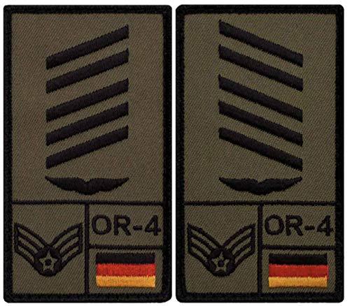 Café Viereck ® Oberstabsgefreiter Luftwaffe Bundeswehr Rank Patch mit Dienstgrad - Gestickt mit Klett - 9,8 cm x 5,6 cm - 2 Stück