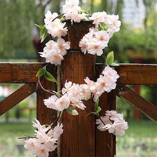 Künstliche Blumen 6 Stück gefälschte Kirschblüte Blume Zweig Begonie Sakura Baumstamm für Event Hochzeit Baum Deko Künstliche dekorative Blumen (Farbe: Champagner)