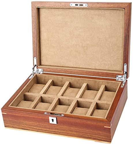 Caja de almacenamiento de joyería de 10 ranuras para hombres y mujeres, pulsera de madera escaparate caja de almacenamiento con tapa de cristal, regalo elegante
