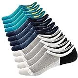 Ueither Calcetines Cortos Hombre Invisibles Respirable Calcetines tobilleros Algodón Antideslizantes (Tamaño: 38-44, Color 3 (6 Pares))