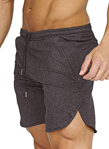 COOFANDY Men's Gym Workout Shorts Running Short Pants Fitted Training Bodybuilding Jogger with Pockets, Dark Grey, XX-Large