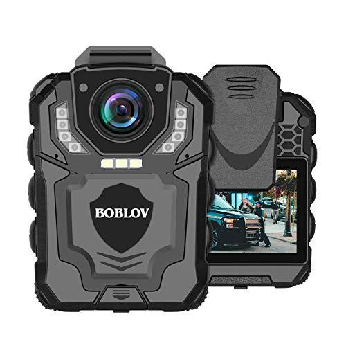 BOBLOV T5 Cámara de cuerpo cámara de policía portátil 1296P con grabación de audio para fuerzas de orden, visión nocturna, grabación en bucle, extensión de memoria, soporta hasta 128 G