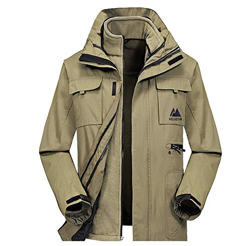 MECASTAR Mens Snowboard Ski Jacket 3-in-1 Waterproof Windproof Warm Winter Shell with Detachable Hood and Fleece Liner (Large, Khaki)