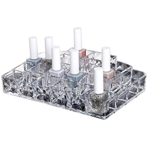 Organisateur acrylique de maquillage pour les cosmétiques comme l'émail et les rouges à lèvres | Organisateur de salle de bain | OWENUP | Plan transparent
