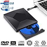 DVD Player for Laptop, USB 3.0 Type-C Dual Port Portable External CD DVD Drive, Drive Slim DVD/CD ROM Rewriter Burner Compatible with Laptop Desktop PC Windows Linux OS Apple Mac