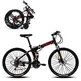 SHUI Vélos De Montagne Pliant, 24 Pouces VTT Antidérapant 21/24/27 Vitesses, Vélo Tendance Et Cool Convient Aux Personnes d'une Hauteur De 140 À 170 Cm Black-24sp