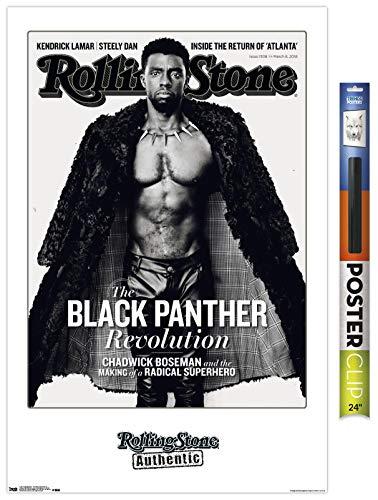 Trends International Magazaine Rolling Stone Magazine - Chadwick Boseman 18 Wall Poster, 22.375' x 34', Poster & Clip Bundle