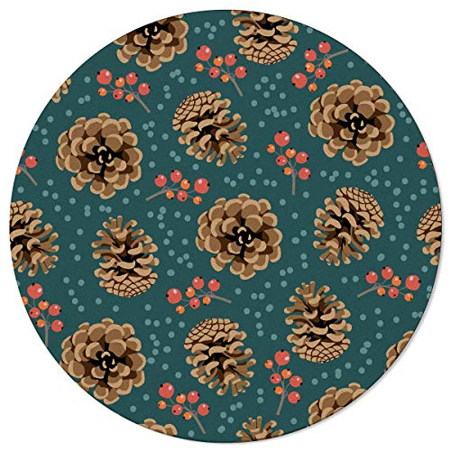 Ta-Home Non Skid Round Area Rugs 3.3ft Pinecone Berry Spots Indoor Washable Carpets Floor Mats for Living Room, Nursery, Bedroom, Study, Christmas Ornament