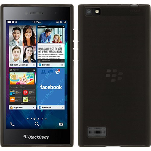 PhoneNatic Hülle kompatibel mit BlackBerry Leap - schwarz Silikon Hülle transparent + 2 Schutzfolien