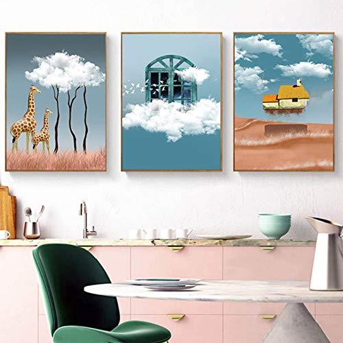 Gymqian Cuadro en Lienzo Impresiones de Paisaje Cartel de Dibujos Animados Ciervos y Nubes Cuadros de Pared para niña habitación de niños Cuadros decoración del hogar 80x110cm sin Marco
