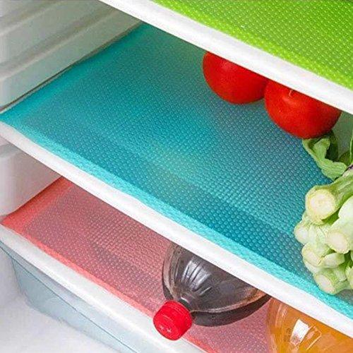 Cuteco - Almohadilla antibacteriana para frigorífico, antiadherente, absorbe la humedad, base acolchada, 4 unidades azul