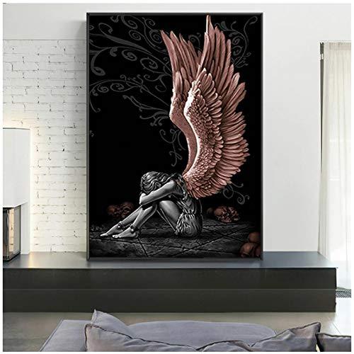 cuadros decoracion salon Ángeles y demonios lienzo pintura gris personaje alas calaveras carteles impresión escandinavo Cuadros cuadro de arte de pared para sala de estar 19.7x27.6in (50x70cm) x1pcs