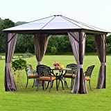 YOLENY 10'x10' Outdoor Hardtop Polycarbonate Gazebo Canopy Curtains...