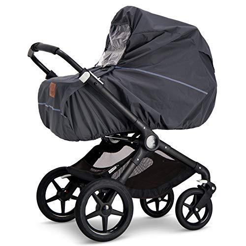 Baby Wallaby Regenschutz für Kinderwagen, skandinavisches Design, Universelle Passform, Sichtfenster, gute Luftzirkulation, Schadstofffrei, 98 x 102 x 0,05 cm (Dunkelgrau)