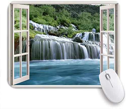 SUHOM Gaming Mouse Pad Rutschfeste Gummibasis,Majestätische Wasserfalllandschaft durch ein Fenster Imaginäres geheimes Paradies drucken,für Computer Laptop Office Desk,240 x 200mm