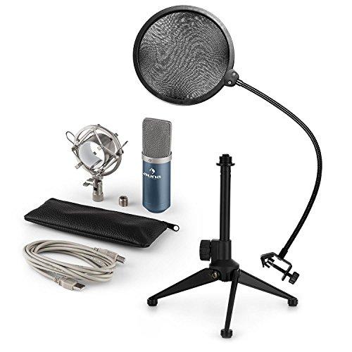 auna MIC-900BL - Mikrofon-Set V2, 3-teilig, USB Kondensatormikrofon + Popschutz + Mikrofon-Tischständer, Nierencharakteristik, Plug & Play, 35cm Schwanenhals, höhenverstellbar, blau