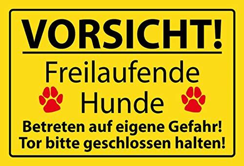 Generisch Warnschild Vorsicht Freilaufende Hunde Blechschild Metallschild Schild Metal Sign 20 x 30 cm