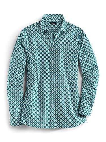 Walbusch Damen Hemd Ultrastretchbluse Gemustert Grafik Grün 42 - Langarm